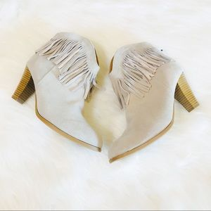 Shoes - Genuin Suede Gray Frayed Booties